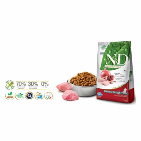 N&D GRAIN FREE CANINE - POLLO Y GRANADA PUPPY MEDIUM