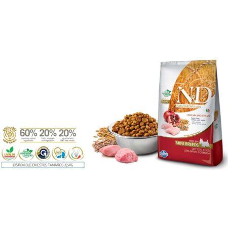N&D Ancestral Grain Canine - POLLO Y GRANADA ADULTO MINI