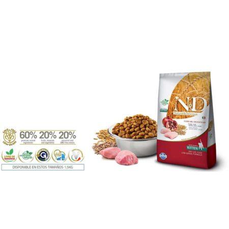 N&D Ancestral Grain Feline - POLLO Y GRANADA KITTEN