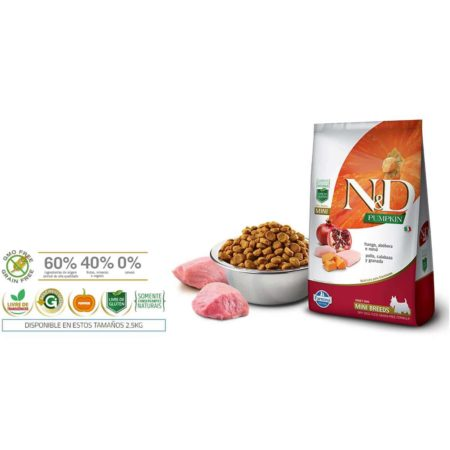 N&D PUMPKIN GRAIN FREE CANINE POLLO, CALABAZA Y GRANADA ADULT MINI