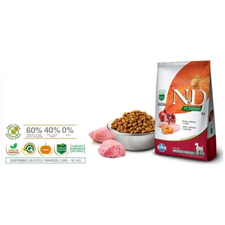 N&D Pumpkin canine adulto frango medium 10,1Kg